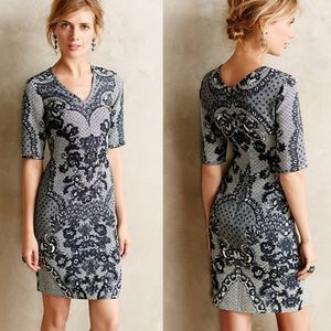 Anthropologie Navy Sketched Lace Dress